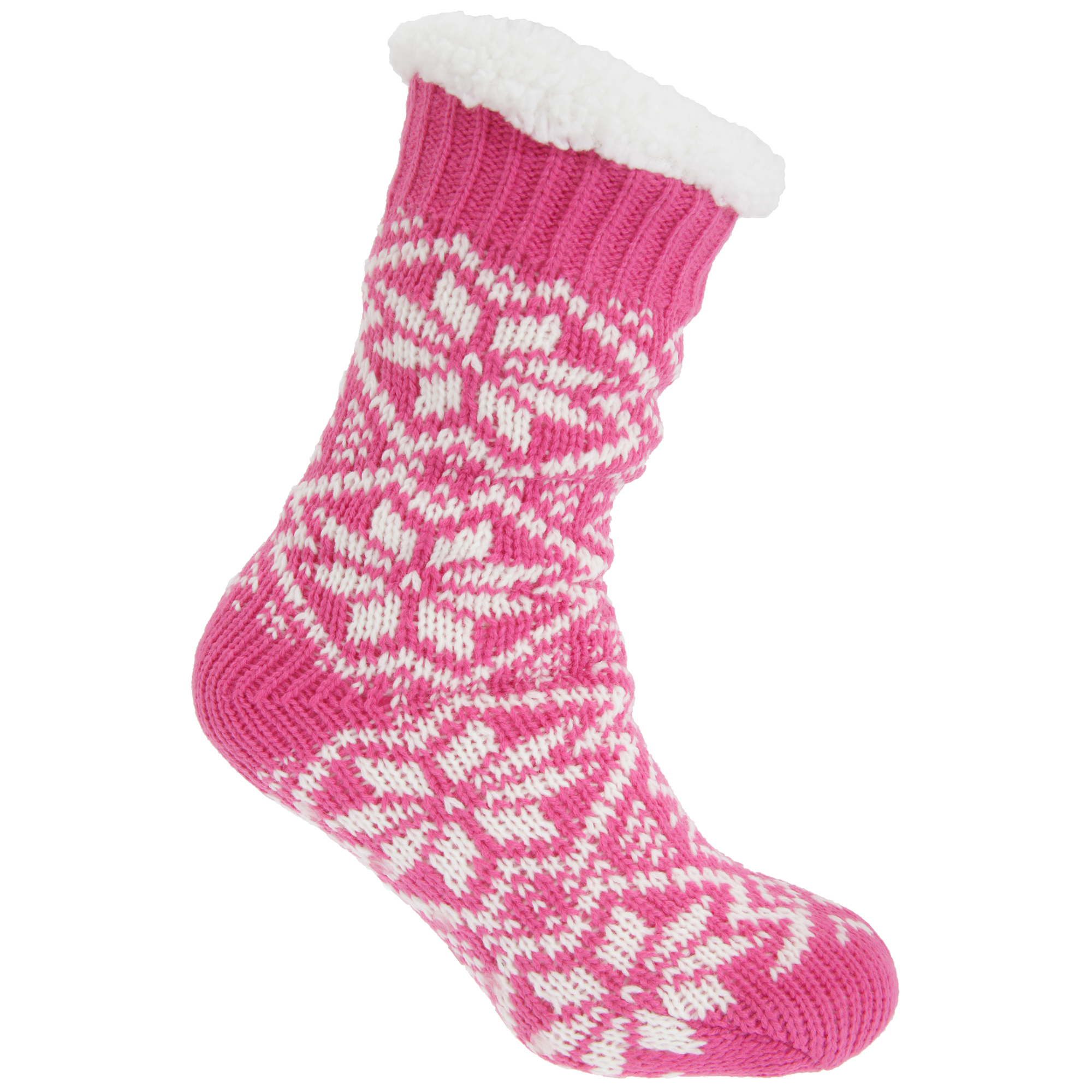 Co-zees Womens/Ladies Chunky Knit Long Lounge Slipper Socks With Grip | EBay