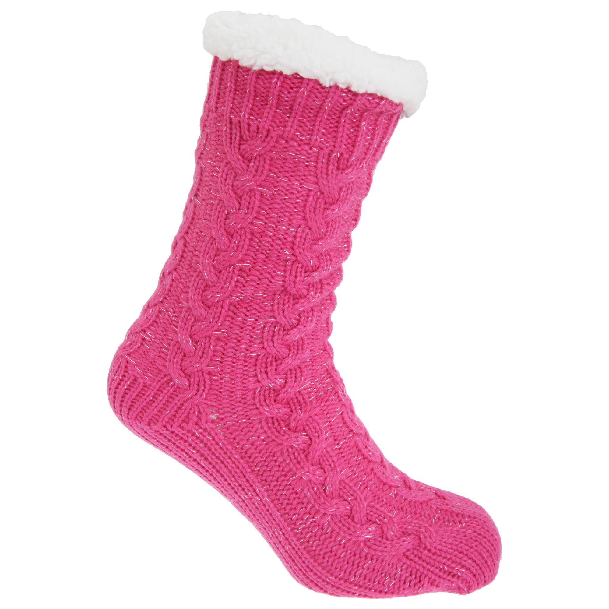 Co-zees Womens/Ladies Chunky Knit Glitter Lounge Slipper ...