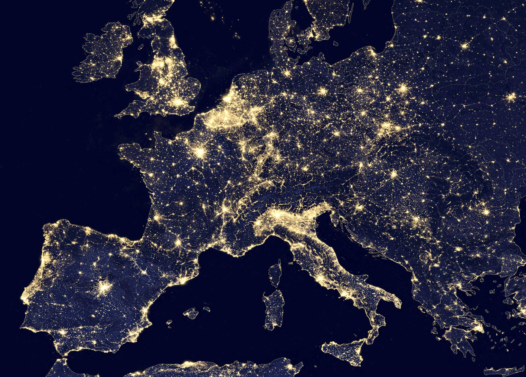 A nighttime view of Europe made possible by the �day-night band� of the Visible Infrared Imaging Radiometer Suite (VIIRS) is seen in a global composite assembled from data acquired by the Suomi National Polar-orbiting Partnership (Suomi NPP) satellite in 2012 and released by NASA October 2, 2014 . The VIIRS detects light in a range of wavelengths from green to near-infrared and uses filtering techniques to observe dim signals such as city lights, wildfires, and gas flares. REUTERS/NASA/Handout (UNITED STATES - Tags: ENVIRONMENT ENERGY SCIENCE TECHNOLOGY) FOR EDITORIAL USE ONLY. NOT FOR SALE FOR MARKETING OR ADVERTISING CAMPAIGNS