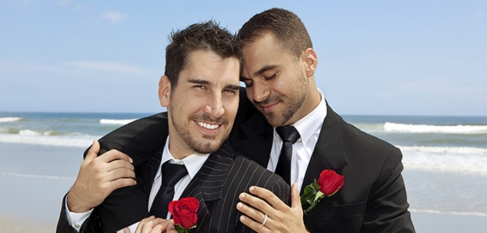 Two gay grooms in greece