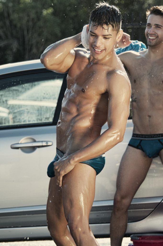 models in car wash video by andrew christian