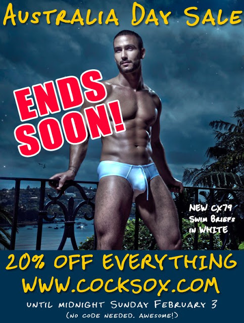 Australia Day underwear sale, 20% of sitewide from Cocksox
