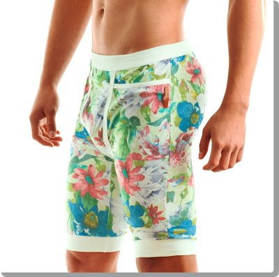 Modus Vivendi pants for men in green floral pattern