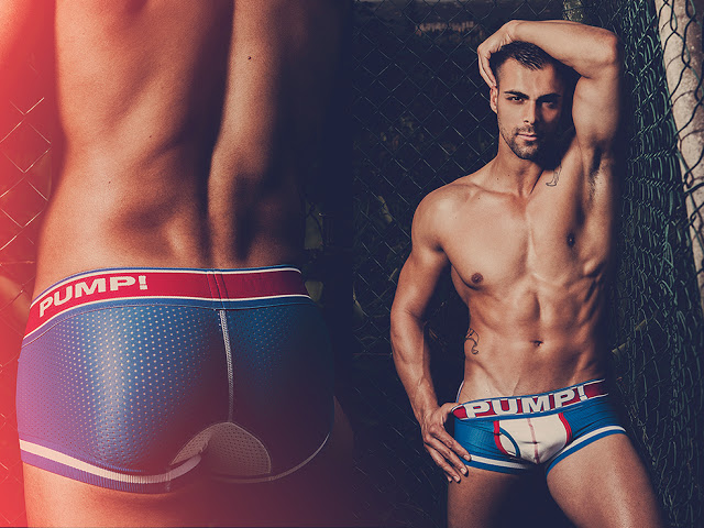 Sexy model Aaron M Perez photographed by Adrian C Martin in PUMP underwear