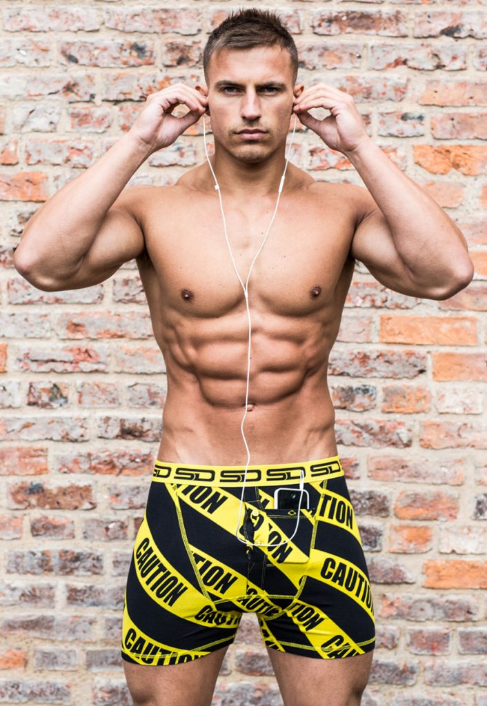 Michael Thurston in Smuggling Duds underwear - Caution boxer shorts