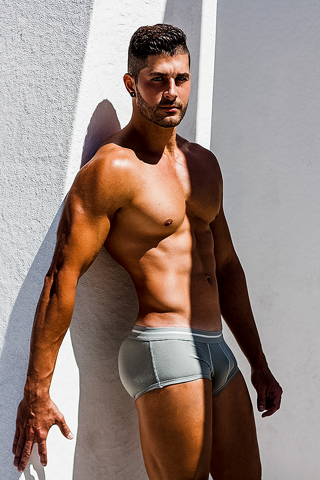Javier Cabrera photographed by Adrian C. Martin for DT underwear