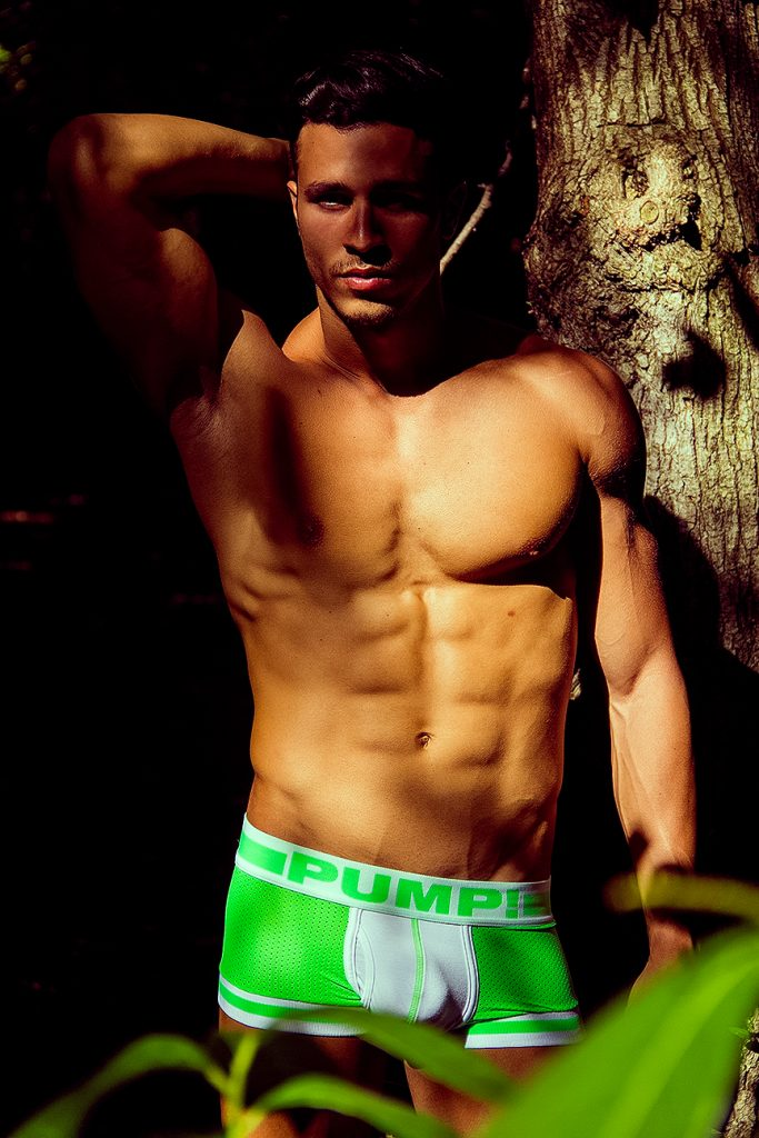 Model Alejandro Gonzalez in PUMP! underwear photographed by Adrian C. Martin