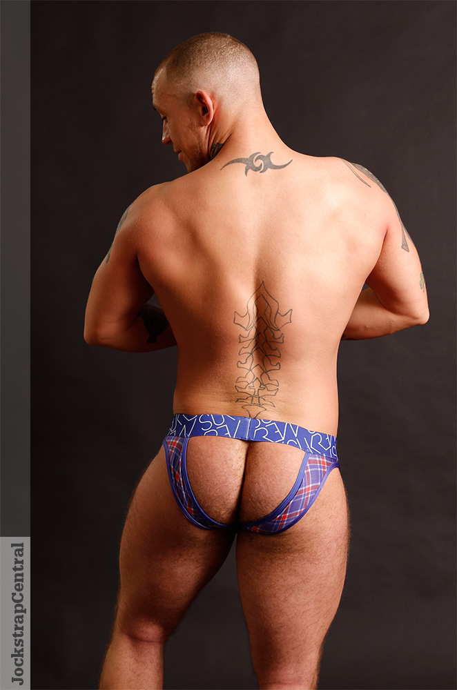 Model Tristian posing in Sukrew underwear for Jockstrap Central