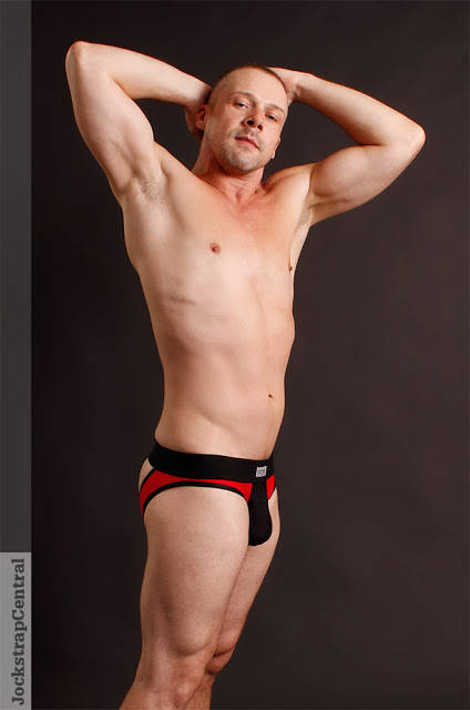 Jockstrap Central model Ryan Russell in Sukrew Red and Black underwear collection