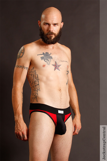 Jockstrap Central model Mick in Sukrew Red and Black underwear collection