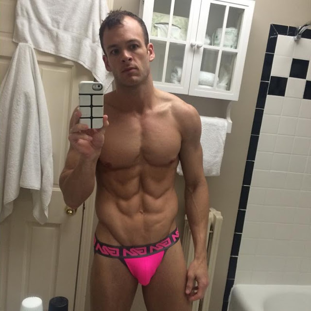 Bradley in Garcon Model pink jock winner of Selfie contest