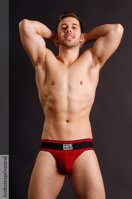 Model Apollo in Jack Adams jockstraps at Jockstrap Central