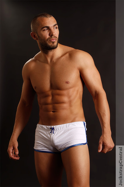 Model Santos in Jack Adams shorts at Jockstrap Central