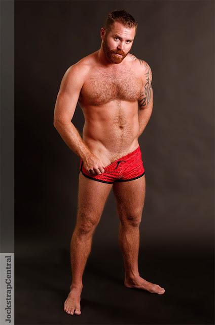 Model Zack Acland in Jack Adams shorts at Jockstrap Central