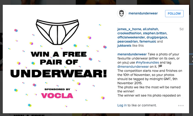 Instagram competition - win a free pair of underwear