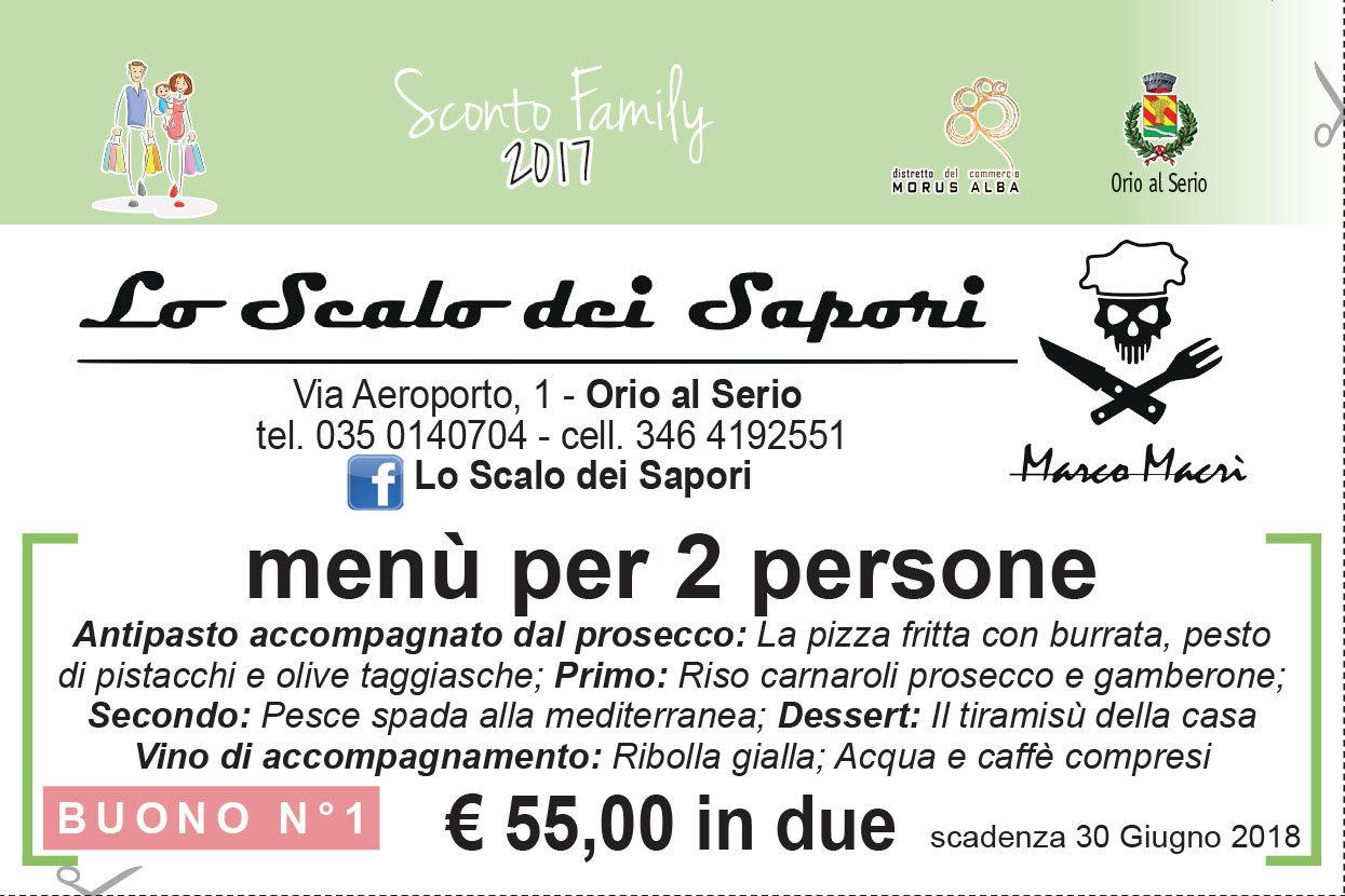 Promozione 55€ menù per due persone