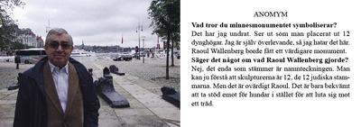 Knut Ragners verk om Raul Wallenbergmonumentet på Nybroplan. Samarbete med Cajsa Söderman