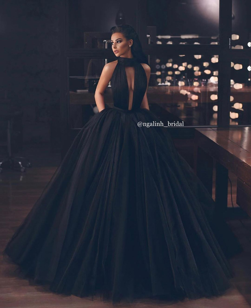 Misty Black Tulle Gown