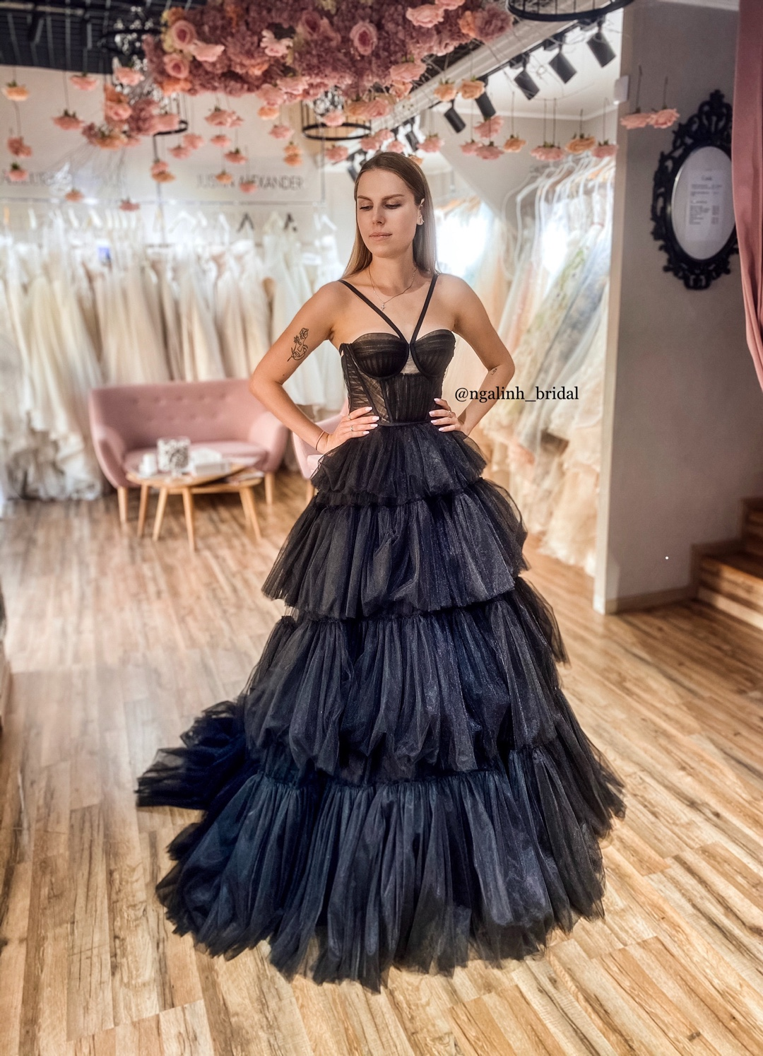 BLACK OVERLAY TULLE GOWN