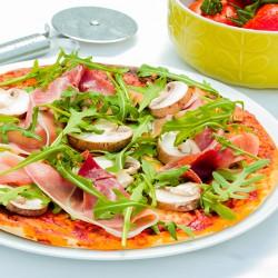 Proteinreiche Pizza mit Schinken & Pilzen