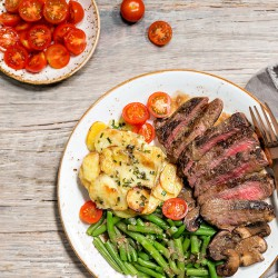 Balsamic Steak with Potato Gratin
