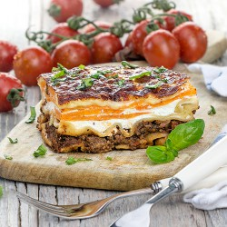 Horse Lasagne with Beetroot Mash