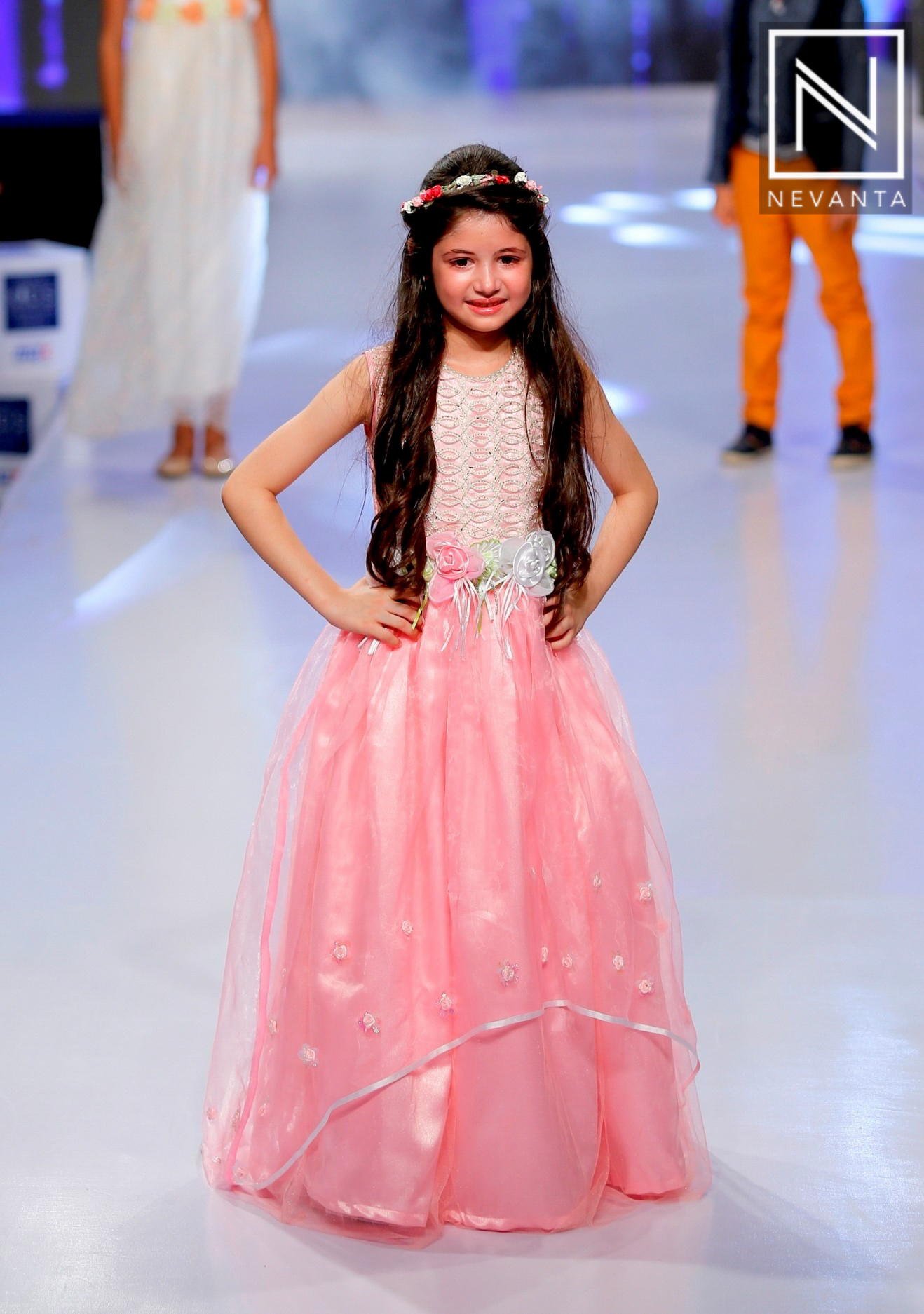 Harshaali malhotra walked the ramp in a pink gown at india kids fashion week 2016 nevanta Style me pink fashion show