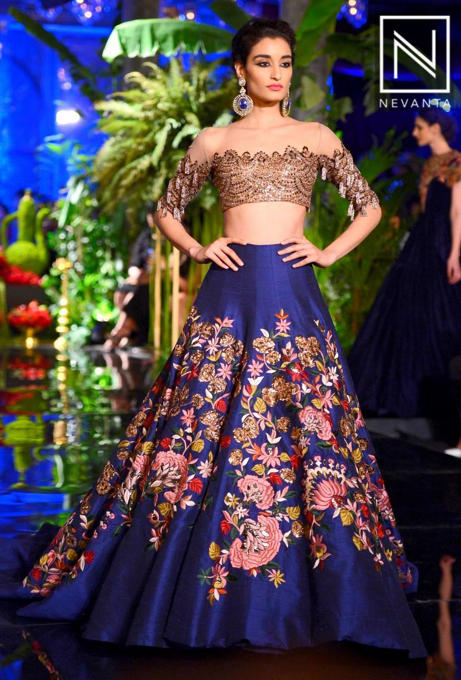 A Royal Blue Lehenga Paired With An Off Shoulder Blouse