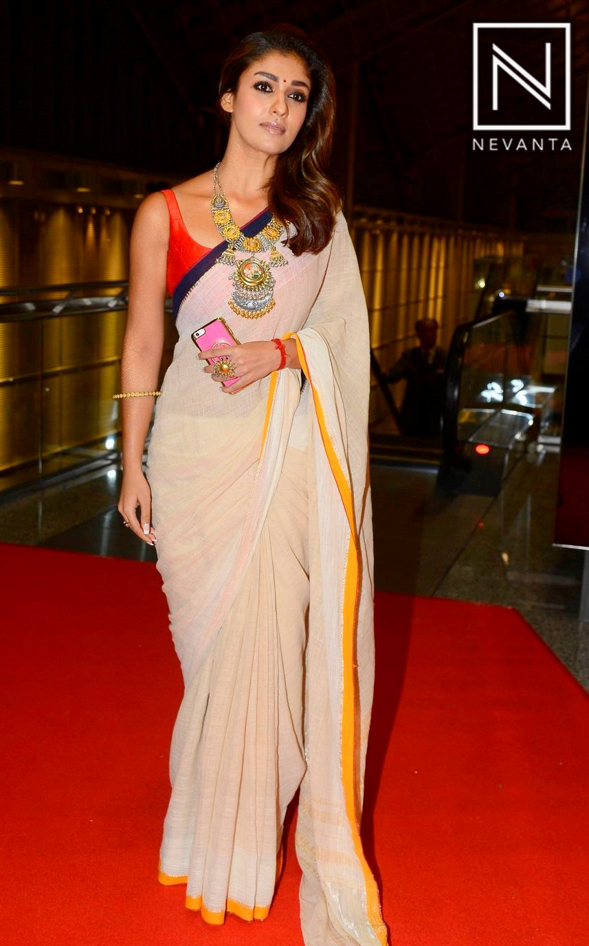 Nayanthara paired a simple saree with statement neck-piece ...