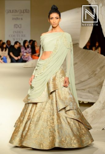 Gaurav Gupta's collections include Sea green which would sit subtly pretty