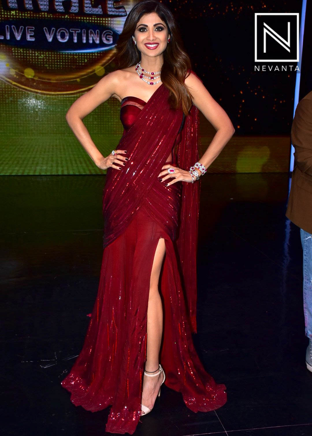 Shilpa Shetty Kundra Wears a Custom-Made Oxblood Sari Gown by Manish ...