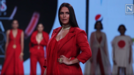 Neha Dhupia Turns Showstopper for Nidhika Shekhar at Lotus Makeup India Fashion Week SS20