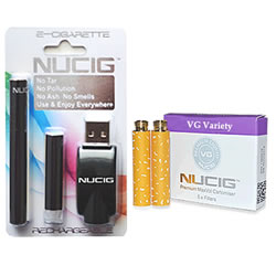 electronic cigarette, Black mini kit NUCIG and Cart Pack