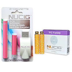 electronic cigarette, pink mini kit NUCIG and Cart Pack