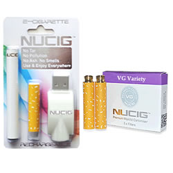 electronic cigarette, white mini kit NUCIG and Cart Pack