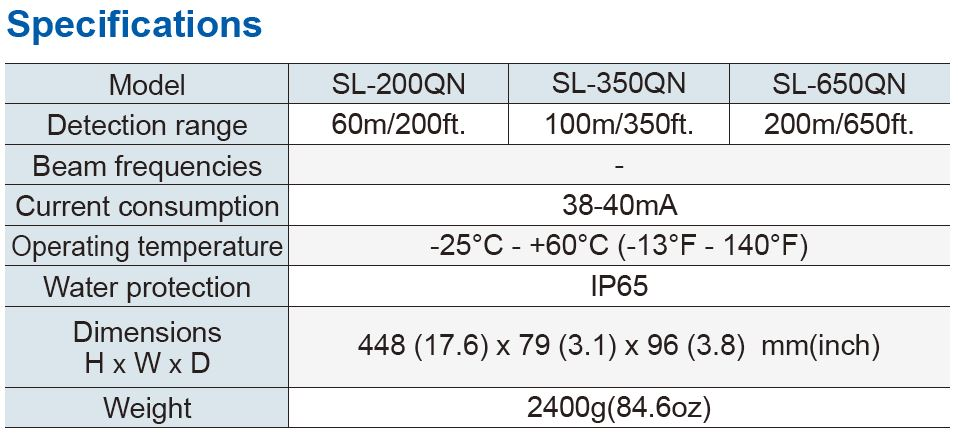 Optex Sl 200Qn Specifications