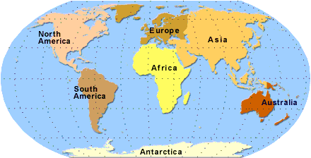 Map Of Continents With Country Names - Name of continents