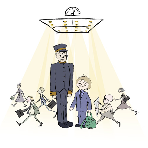 Artwork from the book - The Elevator and the Banana (Russian Version) – Про лифт и бананы – Illustrated and Translated by Irena Brodeski by Mel Rosenberg - מל רוזנברג - Illustrated by Irena Brodeski - Ourboox.com