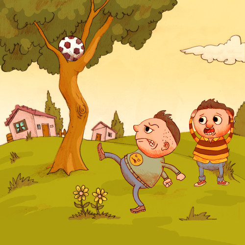 Artwork from the book - كرة القدم والشجرة – The Football and The Tree – Arabic Version by Dr. Said Elwardi - سعيد الوردي - Illustrated by Translated by Fatma Ghader, illustrated by Etzion Goel  - Ourboox.com