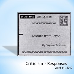 # 140 – Criticism – Responses - by Stephen Pohlmann