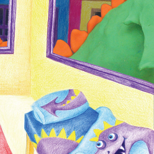 Artwork from the book - Mel the Smell Dragon – التنين اللطيف مَليح – Arabic Version by Dr. Said Elwardi - سعيد الوردي - Illustrated by Illustrated by Rotem Omri and Translated by Fatma Ghader - Ourboox.com
