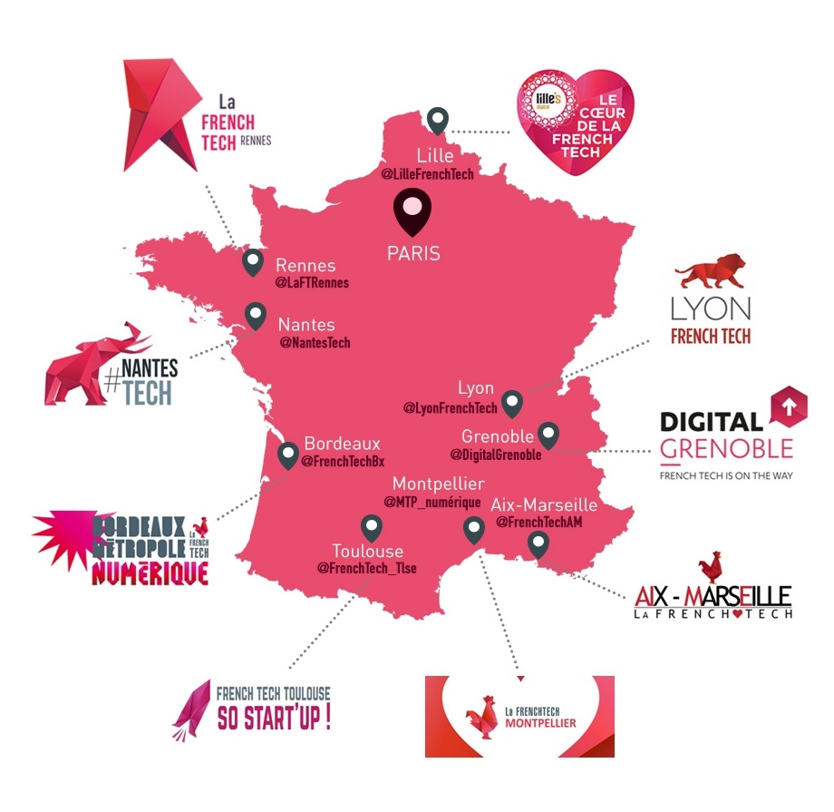 Map of French start-up incubators