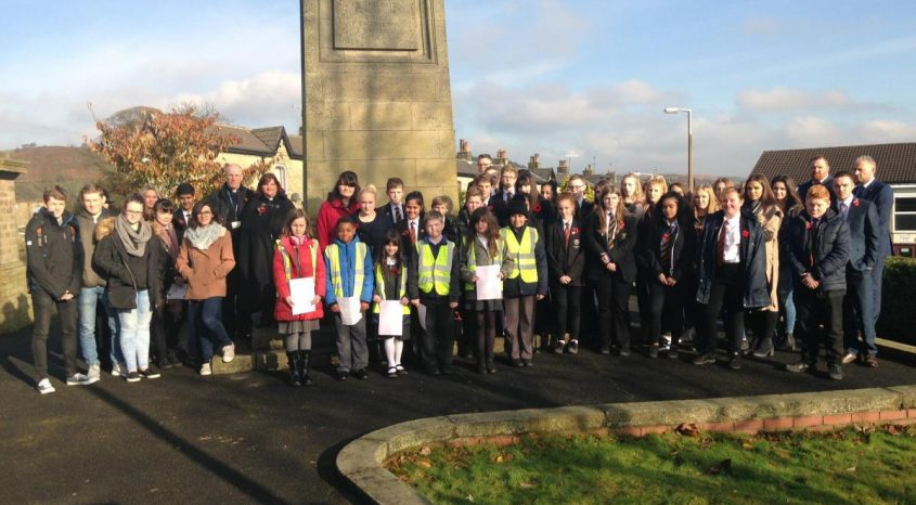 Students from Parkside, Cullingworth Primary and other Schools in the area pay their respects during Armistice Day ceremonies