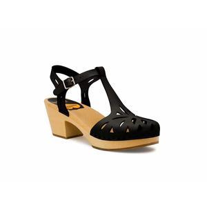 Swedish Hasbeens Lacy Sandal, Black, nero,suola naturale /Nature Sole