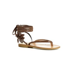 Sandalo infradito Calì. colore Jem Tortora con laccio alla caviglia