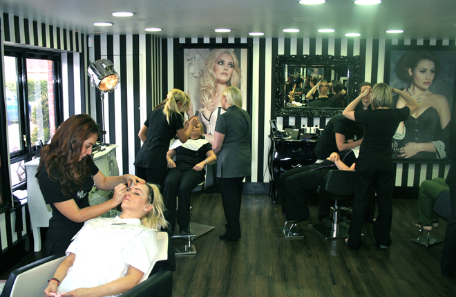 Busy salon staff at work