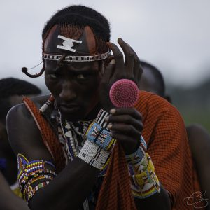 Kenyan man getting ready for a ritual