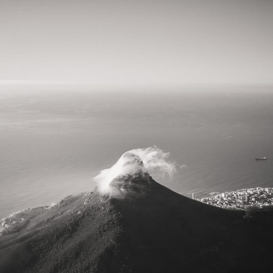 Mist over Lion's Head in Cape Town in black and white