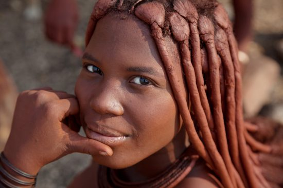 A portrait of a Himba girl in Namibia