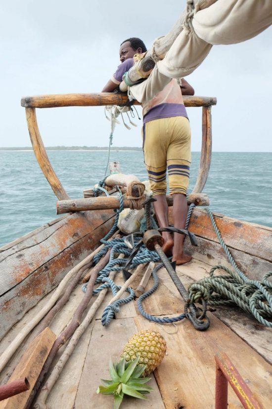 A traditional boat, dhow, in Zanzibar